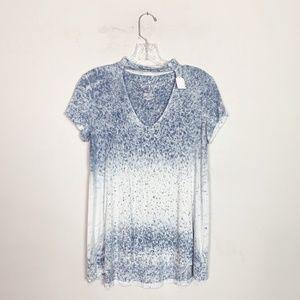 AE soft & sexy blue & white choker cutout t-shirt